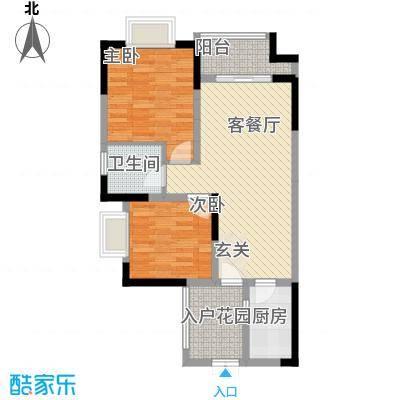 拓新香国城一期81.11㎡一期高层22号楼标准层C户型