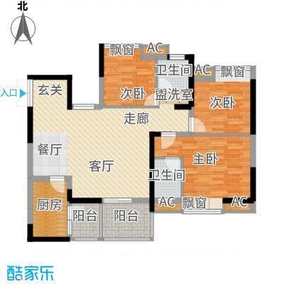 协信阿卡迪亚92.44㎡二期B2号楼面积9244m户型