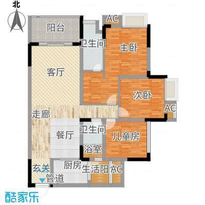 国际社区海悦府108.00㎡一期1/11/12号楼标准层2号房户型