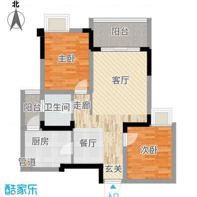 国际社区海悦府77.00㎡一期8、9号楼标准层7号房户型
