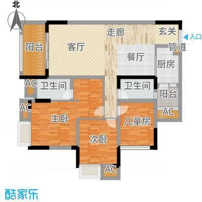 国际社区海悦府108.00㎡一期1/11/12号楼标准层5号房户型