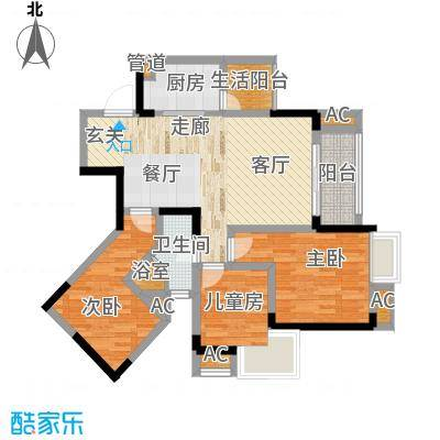 国际社区海悦府75.00㎡一期1/11/12号楼标准层3号房户型