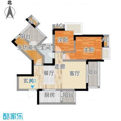 国际社区海悦府75.00㎡一期5/6/7号楼标准层3/4号房户型