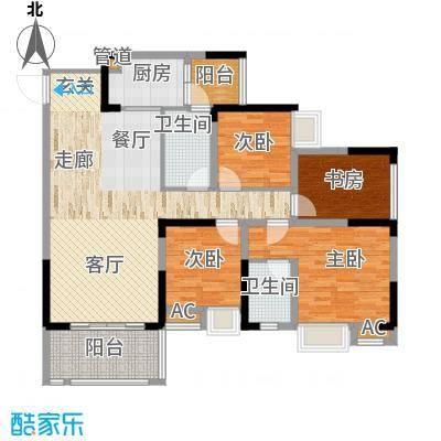 国际社区海悦府108.00㎡一期2/3/4号楼标准层3号房户型