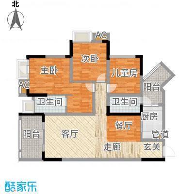 国际社区海悦府111.00㎡一期1/11/12号楼标准层6号房户型