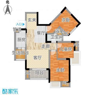 国际社区海悦府76.00㎡一期1/11/12号楼标准层4号房户型