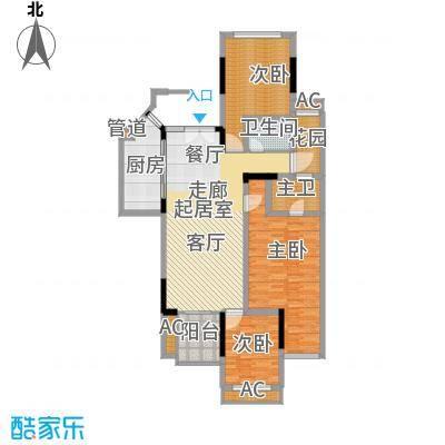 斌鑫中央国际公园115.55㎡B区B1/B2号楼标准层D1户型
