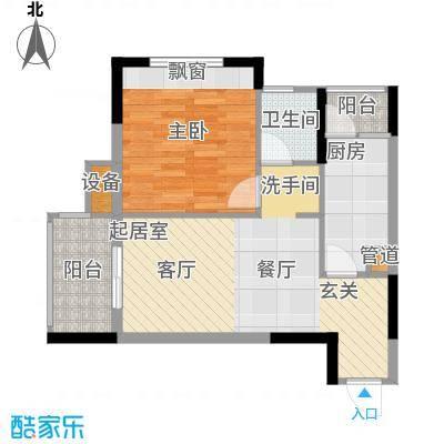 明华龙洲半岛四期老街古镇58.90㎡一期1、2栋标准层1/4/9/12号房户型