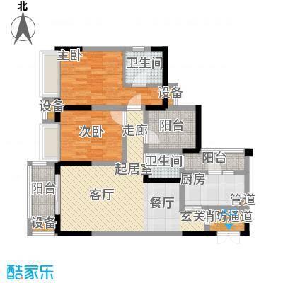 新港左岸陈桥78.81㎡二期5、6号楼标准层2号户型