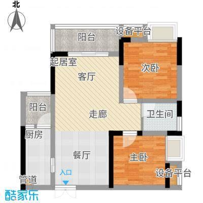 新港左岸陈桥64.44㎡一期1、2、3号楼B标准层户型