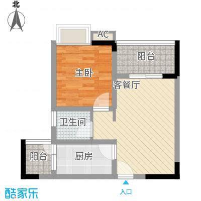 合川德润世家48.88㎡一期5号楼标准层A2户型