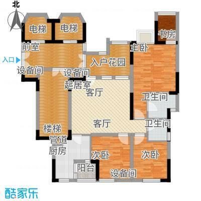 南方书苑湖畔82.32㎡1期2栋1单元标准层1号房3室户型