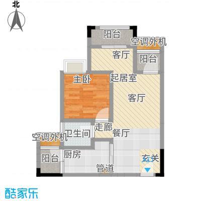 天王星铂晶城46.13㎡一期1栋标准层1-1户型