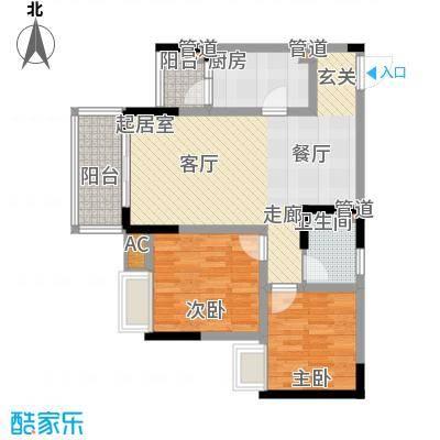 金悦湾68.30㎡一期2号楼标准层D户型