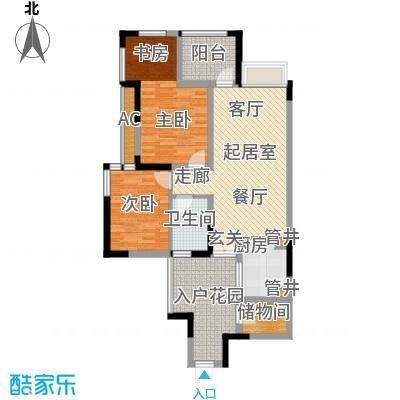 合川宝润国际88.89㎡一期2号楼标准层C户型