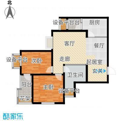 丽景蓝湾86.44㎡B区6#A2面积8644m户型