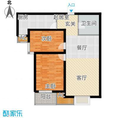 丽景溪城85.86㎡2号楼I面积8586m户型