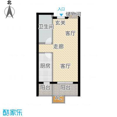 悦水澜庭57.64㎡10号楼E3户型