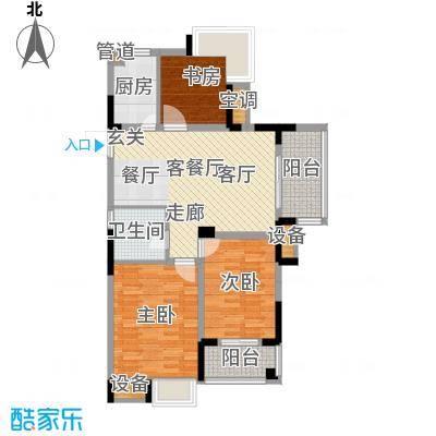 紫园87.38㎡高层1号楼1、7单元3-17奇数层2室户型