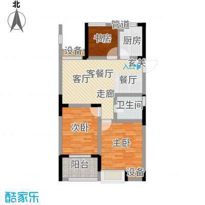 紫园88.13㎡高层1号楼4、5单元中间套偶数层3室户型