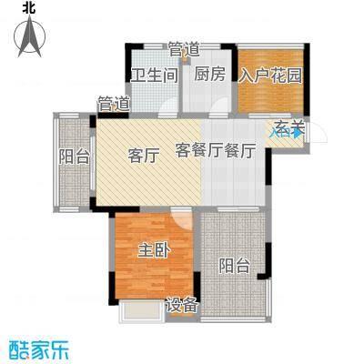 紫园87.62㎡高层8号楼6单元4-14偶数层1室户型