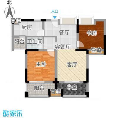 紫园79.79㎡高层8号楼2、5单元4-14偶数层2室户型