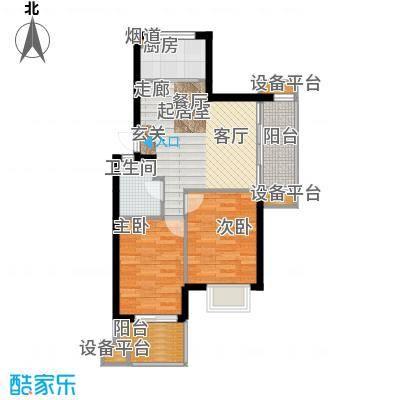 云澜湾75.00㎡2/4/6东边套B-2户型