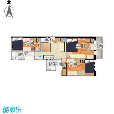 黄金SOHO69.00㎡A#D户型3室1卫1厨