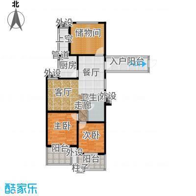 翰林世家97.00㎡5号楼D1-1偶数层户型