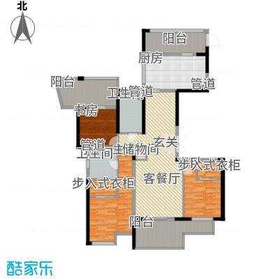 山水名家143.00㎡璞园1号楼奇数层中间套户型
