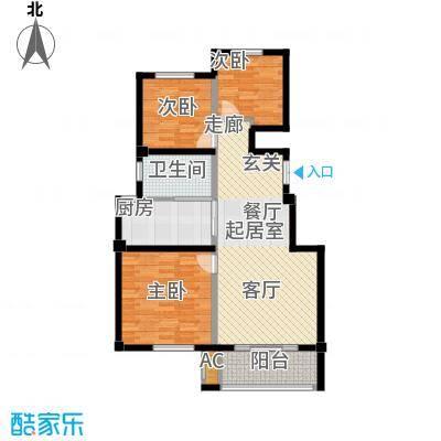 红墅湾89.27㎡电梯公寓标准层B户面积8927m户型