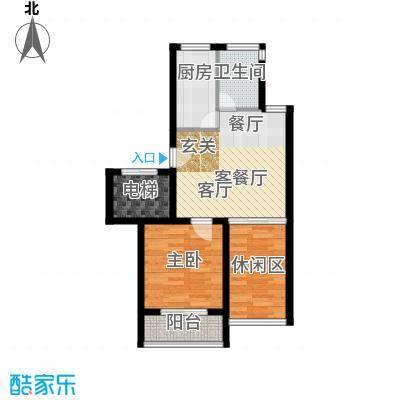 赛格国际公寓60.00㎡A户型 1房2厅1卫 60平米户型1室2厅1卫