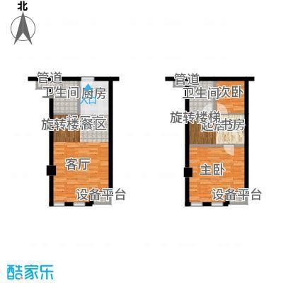 颐高数码港53.00㎡单身公寓面积5300m户型