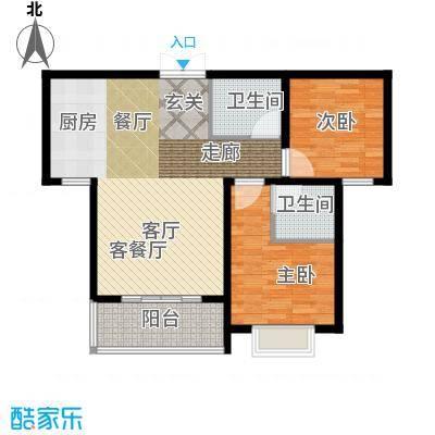 崇城国际88.34㎡高层B6户型