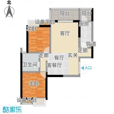 绵阳CBD万达广场87.29㎡3栋1单元5-31层1号2室户型