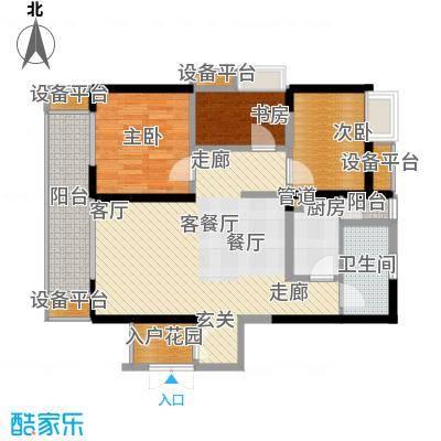 绵阳CBD万达广场99.20㎡3栋1单元5-31层2号3室户型