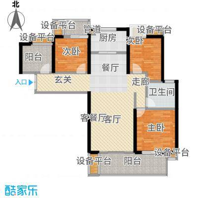 绵阳CBD万达广场116.59㎡3栋3单元4-31层1号3室户型