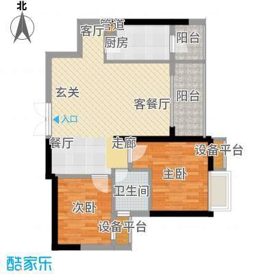 绵阳CBD万达广场81.31㎡3栋1单元5-31层3号2室户型