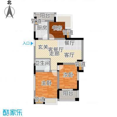 紫园87.38㎡高层1号楼1、7单元4-18偶数层3室户型