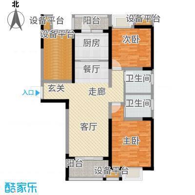 可逸兰亭109.00㎡109平米2房2厅2卫户型2室2厅2卫
