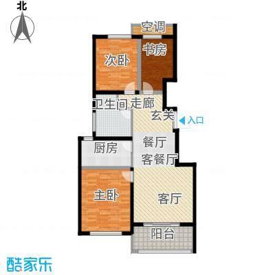 悦上海103平米B1户型3室2厅1卫