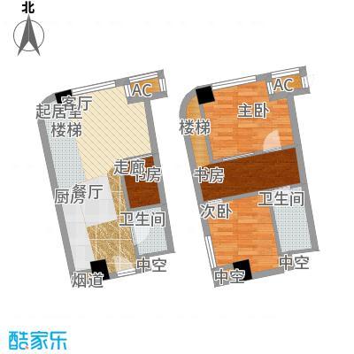 中宇国际中心67.80㎡20-25层B户型,层高5.2米精装酒店式公寓户型2室2厅2卫