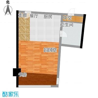 中宇国际中心54.64㎡2-19层C户型,层高3.3米精装酒店式公寓户型1室1厅1卫