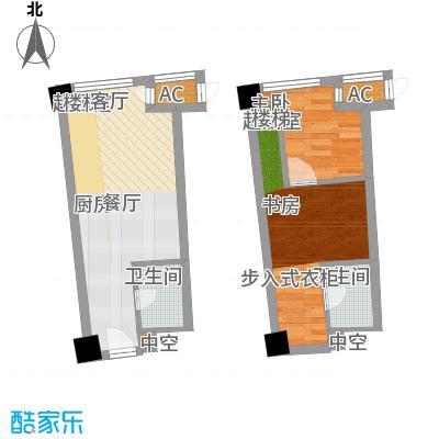 中宇国际中心47.80㎡20-25层A户型,层高5.2米精装酒店式公寓户型2室2厅2卫