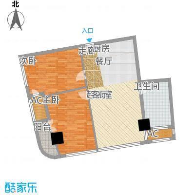 中宇国际中心93.80㎡2-19层F户型,层高3.3米精装酒店式公寓户型2室1厅1卫