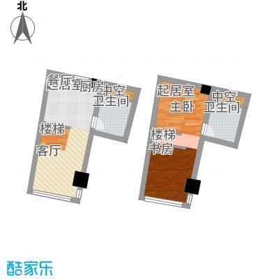 中宇国际中心43.69㎡20-25层D户型,层高5.2米精装酒店式公寓户型2室2厅2卫