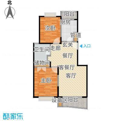 秋月枫舍(一期)房型: 二房; 面积段: 99.71 -101 平方米; 户型