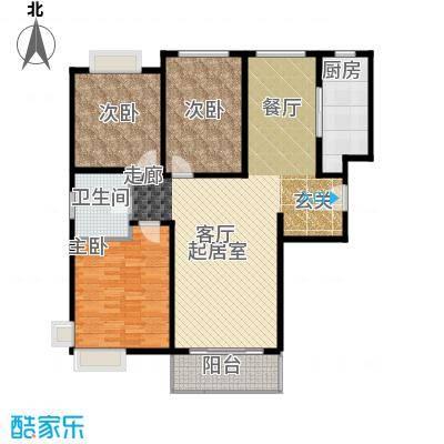 康悦亚洲花园F户型3室1卫1厨