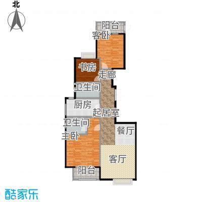 中海万锦城三期户型3室2卫1厨