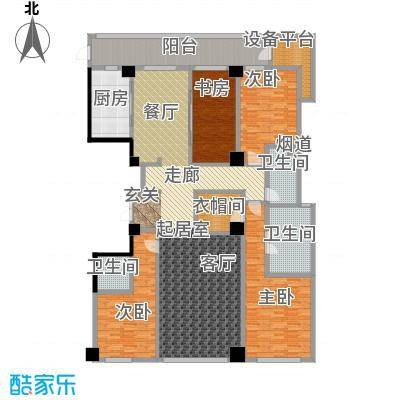 绿城黄浦湾5B户型4室3卫1厨